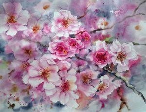 aquarel-fleurs-du-printemps-50x60